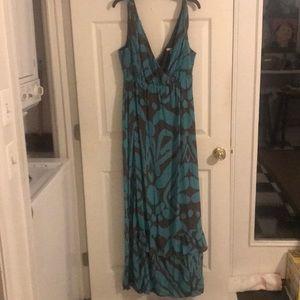 Banana Republic blue and brown maxi dress
